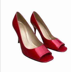 Stuart weitzman cherry 🍒 patent leather peep toes